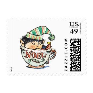 Cute Cartoon Christmas Elf Sleeping in a Tea Cup Postage Stamp