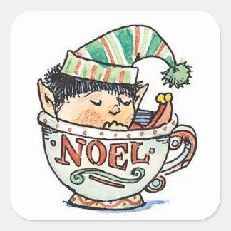 Cute Cartoon Christmas Elf Sleeping in a Tea Cup Square Sticker