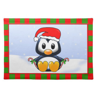 Cute Cartoon Christmas Penguin with Candy Canes Cloth Placemat