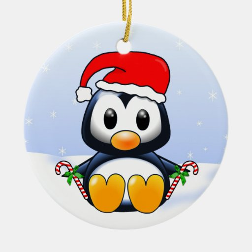 Cute Cartoon Christmas Penguin with Candy Canes Ornament