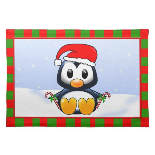 Cute Cartoon Christmas Penguin With Candy Canes Place Mat