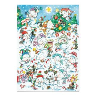 Cute Cartoon Christmas Polar Bear Party Invitation