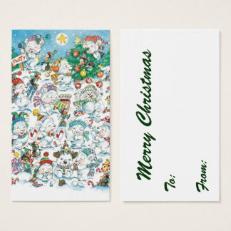 Cute Cartoon Christmas Polar Bear Penguin Party Business Card