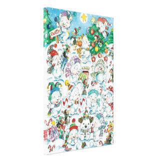 Cute Cartoon Christmas Polar Bear Penguin Party Canvas Print