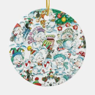 Cute Cartoon Christmas Polar Bear Penguin Party Ceramic Ornament