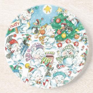 Cute Cartoon Christmas Polar Bear Penguin Party Beverage Coasters