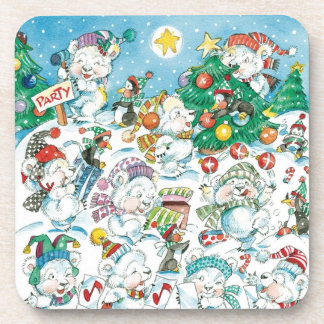 Cute Cartoon Christmas Polar Bear Penguin Party Drink Coaster