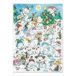 Cute Cartoon Christmas Polar Bear Penguin Party Announcement Card