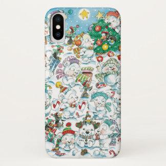 Cute Cartoon Christmas Polar Bear Penguin Party iPhone X Case