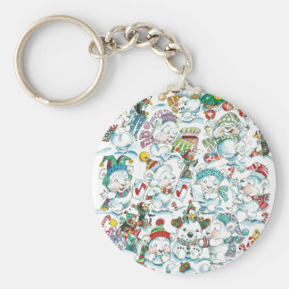 Cute Cartoon Christmas Polar Bear Penguin Party Keychain