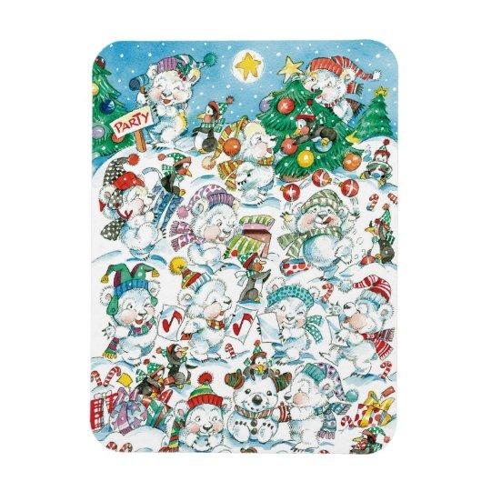 Cute Cartoon Christmas Polar Bear Penguin Party Magnet