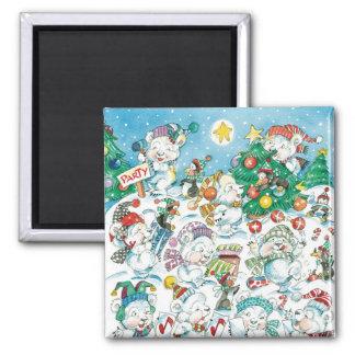 Cute Cartoon Christmas Polar Bear Penguin Party Magnets
