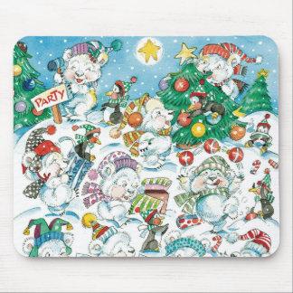 Cute Cartoon Christmas Polar Bear Penguin Party Mouse Pad