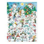 Cute Cartoon Christmas Polar Bear Penguin Party Postcards