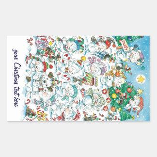 Cute Cartoon Christmas Polar Bear Penguin Party Rectangular Sticker
