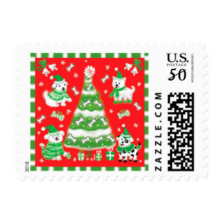 Cute Cartoon Christmas Puppies with Bones Postage