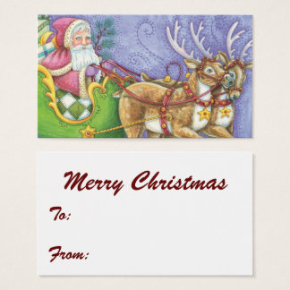 Cute Cartoon Christmas Santa Claus Sleigh Reindeer Business Card