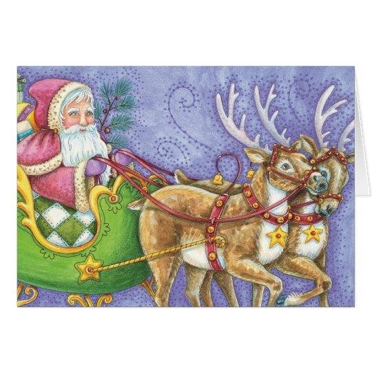 Cute Cartoon Christmas Santa Claus Sleigh Reindeer Card