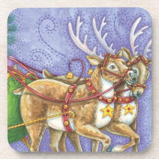 Cute Cartoon Christmas Santa Claus Sleigh Reindeer Drink Coasters