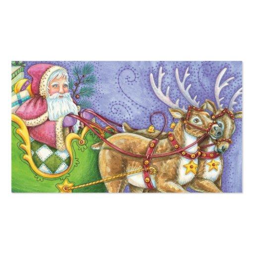 Cute Cartoon Christmas Santa Claus Sleigh Reindeer Double-Sided Standard Business Cards (Pack Of 100)