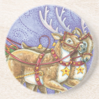Cute Cartoon Christmas Santa Claus Sleigh Reindeer Drink Coaster