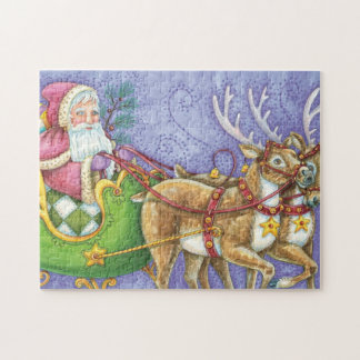 Cute Cartoon Christmas Santa Claus Sleigh Reindeer Jigsaw Puzzle
