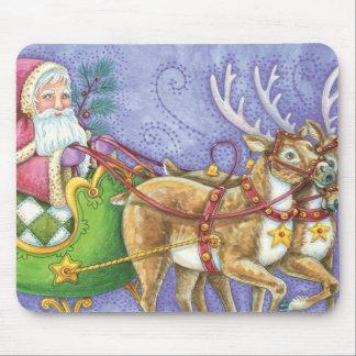 Cute Cartoon Christmas Santa Claus Sleigh Reindeer Mouse Pad