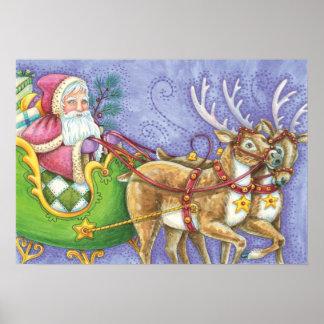 Cute Cartoon Christmas Santa Claus Sleigh Reindeer Poster