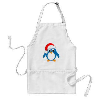 Cute Cartoon Christmas Santa Penguin Adult Apron