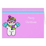 Cute Cartoon Christmas Snowman Greeting Card