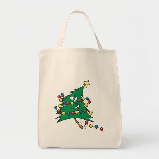 cute cartoon christmas tree character grocery tote bag