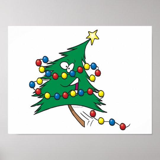 cute cartoon christmas tree character poster