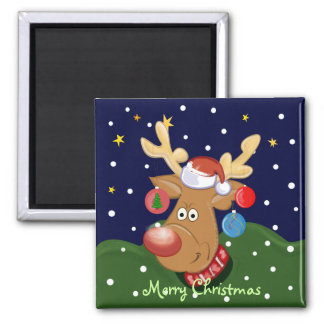 Cute cartoon Ckristmas magnet with Rudolph