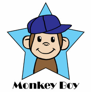 Cute Cartoon Clip Art Happy Monkey in Star w Hat Cutout