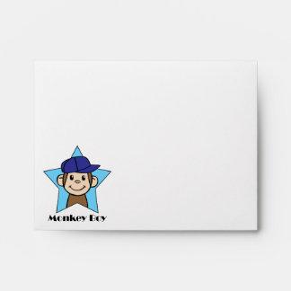 Cute Cartoon Clip Art Happy Monkey in Star w Hat Envelope