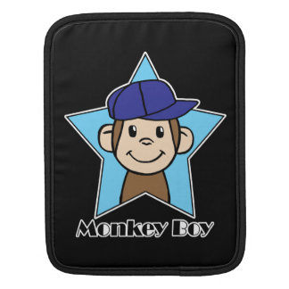 Cute Cartoon Clip Art Happy Monkey in Star w Hat iPad Sleeves