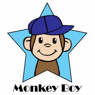 Cute Cartoon Clip Art Happy Monkey in Star w Hat Standing Photo Sculpture