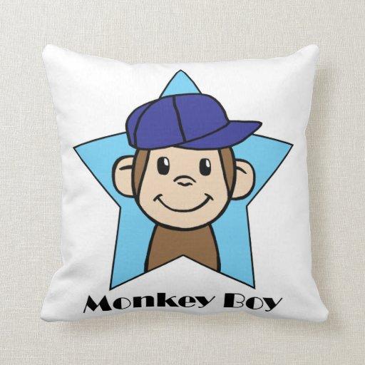 Cute Cartoon Clip Art Happy Monkey in Star w Hat Pillow Zazzle