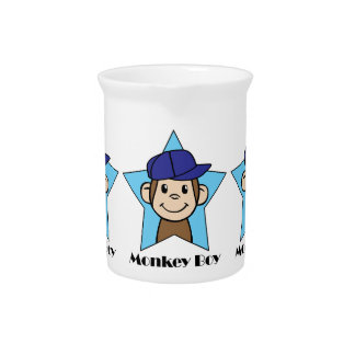 Cute Cartoon Clip Art Happy Monkey in Star w Hat Pitcher