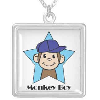 Cute Cartoon Clip Art Happy Monkey in Star w Hat Silver Plated Necklace
