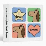 Cute Cartoon Clip Art I Love Horses Smileys Vinyl Binder