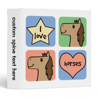 Cute Cartoon Clip Art I Love Horses Smileys Vinyl Binders
