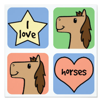 Cute Cartoon Clip Art I Love Horses Smileys Card