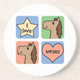 Cute Cartoon Clip Art I Love Horses Smileys Coaster