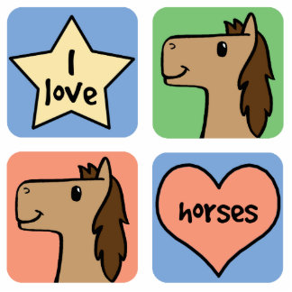 Cute Cartoon Clip Art I Love Horses Smileys Cutout