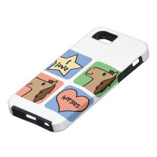 Cute Cartoon Clip Art I Love Horses Smileys iPhone SE/5/5s Case
