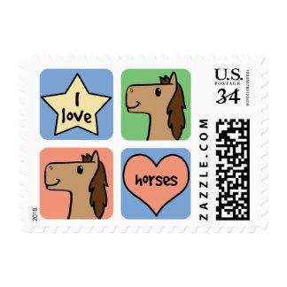 Cute Cartoon Clip Art I Love Horses Smileys Postage