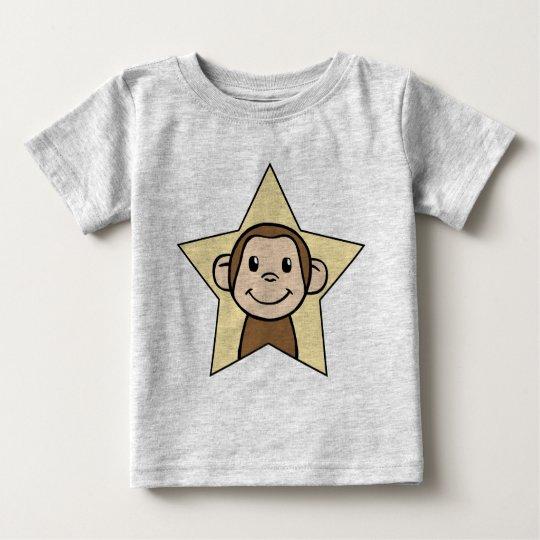 Cute Cartoon Clip Art Monkey with Grin Smile Star Baby T-Shirt