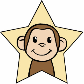 Cute Cartoon Clip Art Monkey with Grin Smile Star Cutout