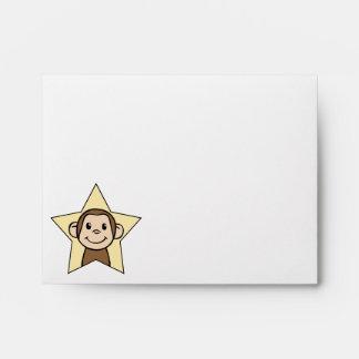 Cute Cartoon Clip Art Monkey with Grin Smile Star Envelope